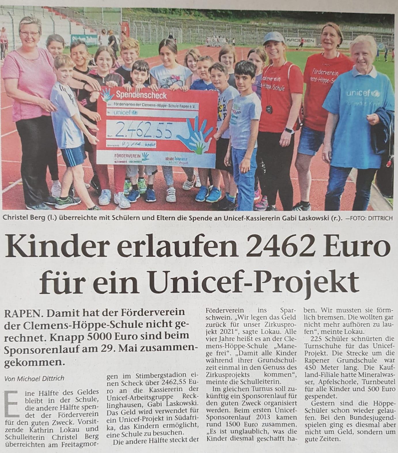 Zeitungsbericht aus der Stimbergzeitung